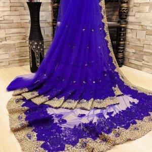 Tissu de Sari - Bleu