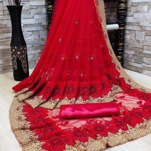 Tissu de Sari - Wassiya rouge